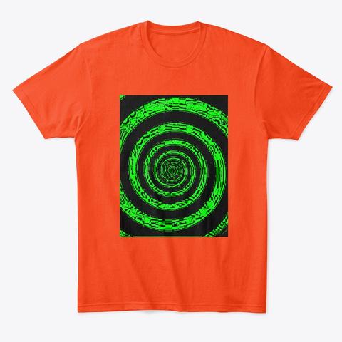 Green & Red/Blue Hypnotic Neon Spirals Deep Orange  T-Shirt Front