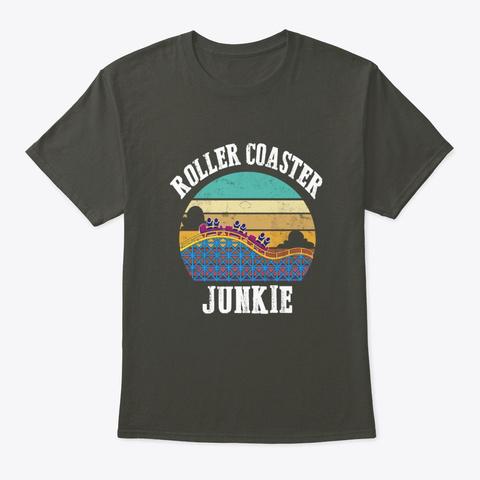 Roller Coaster Junkie, Roller Coaster, Smoke Gray T-Shirt Front
