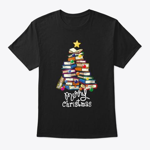 Merry Christmas Tree Shirt Love Reading Black T-Shirt Front