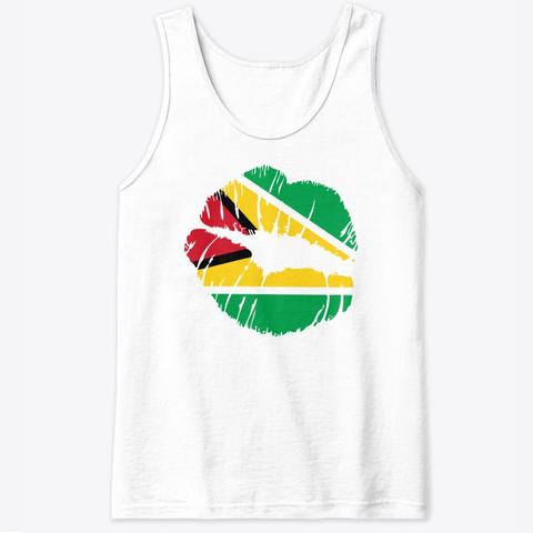 Guyana Flag Lips Kiss Carnival  White T-Shirt Front