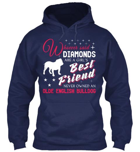 Olde English Bulldog Gift Shirt. Navy T-Shirt Front