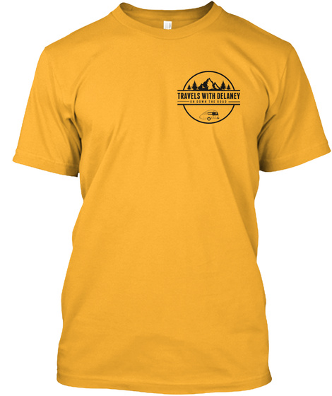 Travels With Delaney Merchandise Gold T-Shirt Front