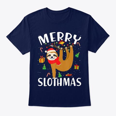 Sloth Merry Slothmas Christmas Ornament Navy T-Shirt Front