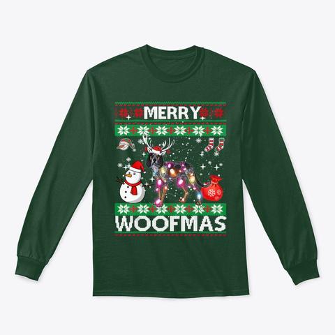 Bluetick Coonhound Merry Woofmas Shirt Forest Green T-Shirt Front