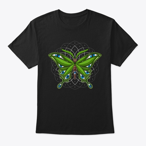 Psychedelic Weed Butterfly Black T-Shirt Front