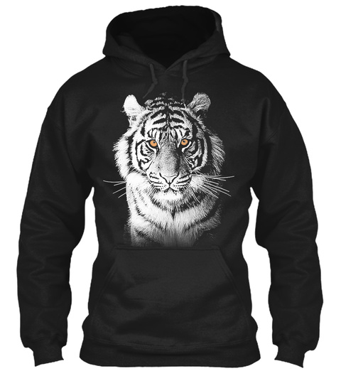 Perfect White Tiger Hoodie Black T-Shirt Front