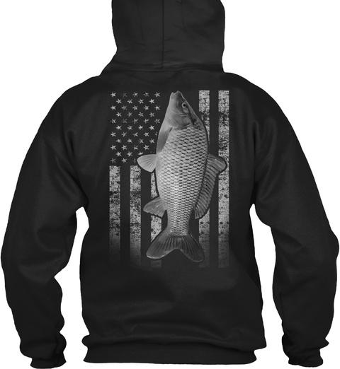 Real Carp Fishing Flag  Black T-Shirt Back