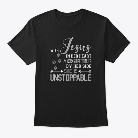 With Jesus In Her Heart &Amp; Yorkshire Black T-Shirt Front