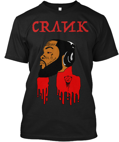 Drippy Cartoon (Black) Black T-Shirt Front