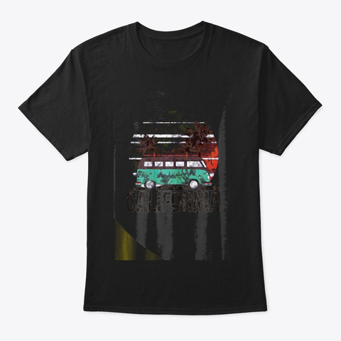 California Retro Surf T Shirt Vintage Black T-Shirt Front