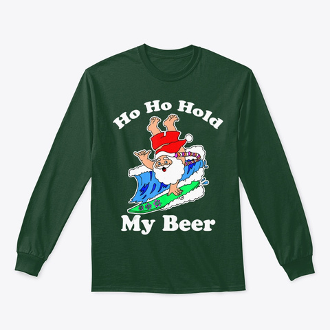 Christmas In July Santa Surfing Forest Green T-Shirt Front