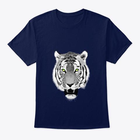 Tiger Face Wildlife Navy T-Shirt Front