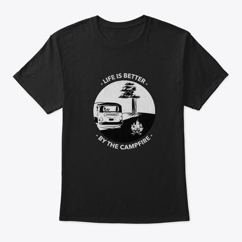 Outdoorsy Camping Shirt Black T-Shirt Front