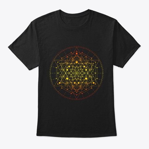Sacred Geometry Yellow Tesseract Black T-Shirt Front