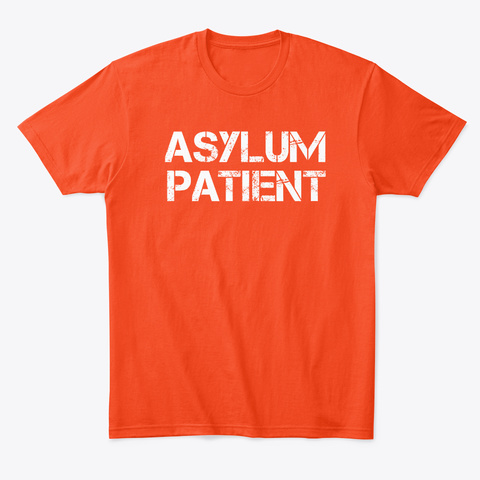 White Asylum Patient Halloween Costume Deep Orange  T-Shirt Front