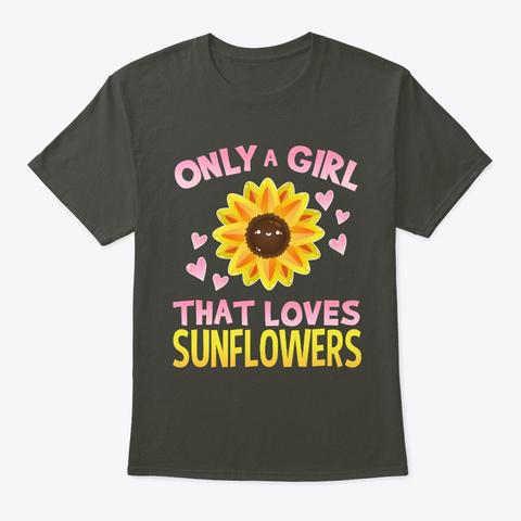 Girl Loves Sunflowers  Smoke Gray T-Shirt Front