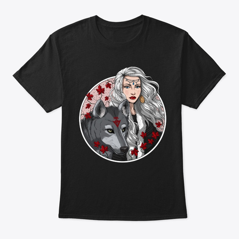 Forest Wolf Shaman Black T-Shirt Front