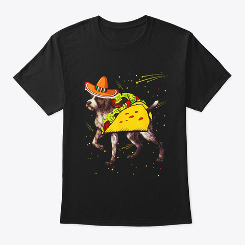 Sombrero German Wirehaired Pointer Dog Black T-Shirt Front