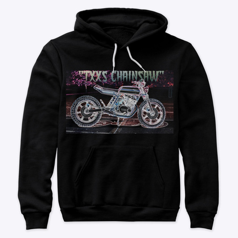 Moto Fied Spooky Scrambler Hoodie Black T-Shirt Front