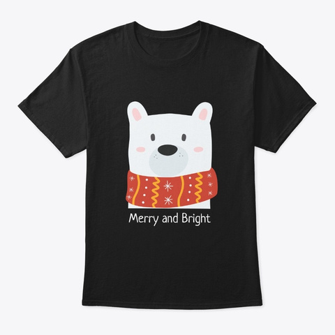 Christmas Bear In Red Scarf, Holiday Black T-Shirt Front