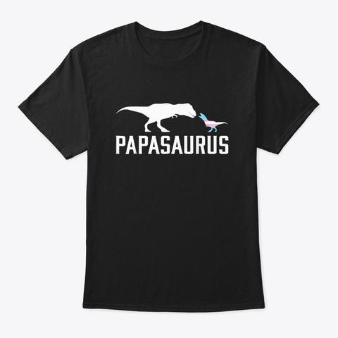 Papasaurus Lgbt Transgender Dad Trans Black T-Shirt Front