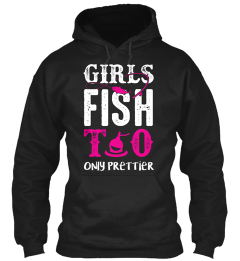 Girls Fish To Only Prettier Black T-Shirt Front