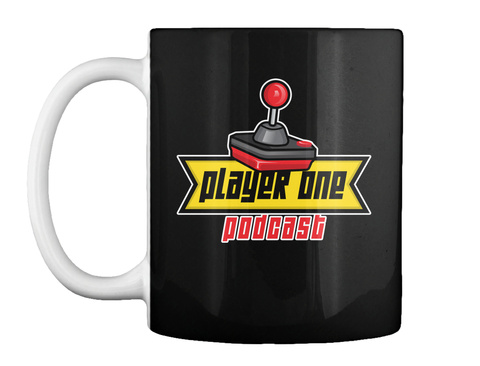 Player One Podcast Black Mug Front
