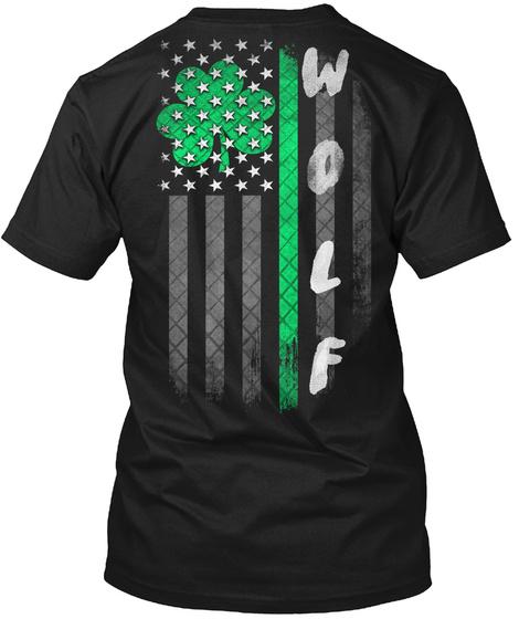Wolf: Lucky Family Clover Flag Black T-Shirt Back