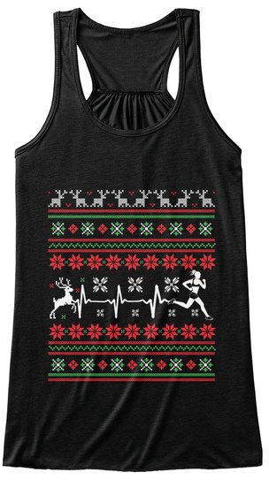 Running Christmas Ugly! Black T-Shirt Front