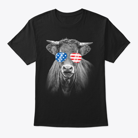 4th July Gifts Vintage Patriot Usa Cow Black T-Shirt Front