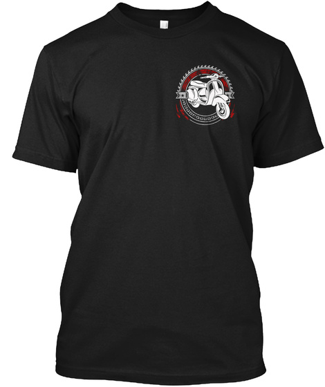 Scooter Riding Black T-Shirt Front