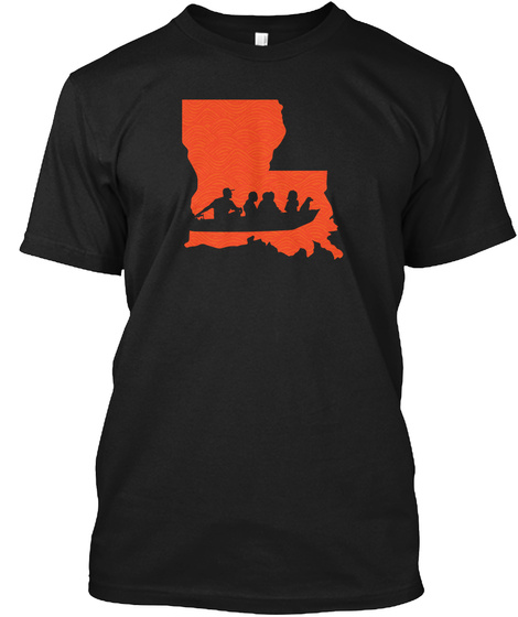 Cajun Navy | Orange And Black! Black T-Shirt Front