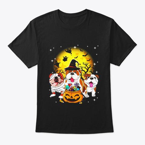 English Bulldog Mummy Witch Dog Moon Black T-Shirt Front