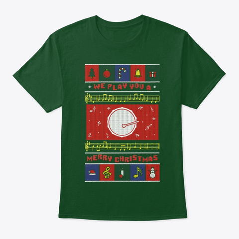 Bass Drum Ugly Christmas Deep Forest T-Shirt Front
