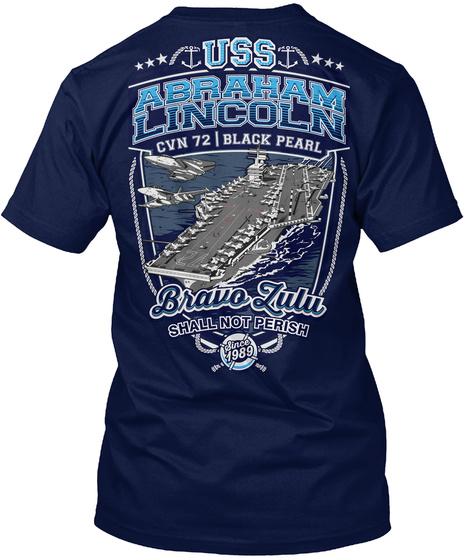 Uss Abraham Lincoln Cvn 72 | Black Pearl Navy T-Shirt Back