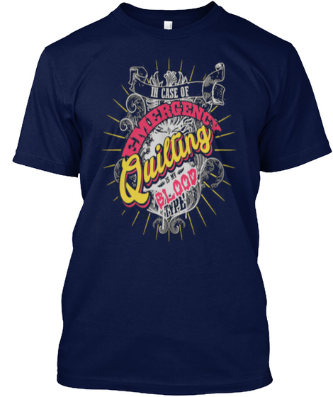 Emergency Quilting Blood Navy T-Shirt Front