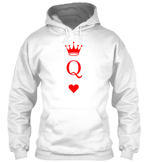 The Queen Of Hearts White T-Shirt Front