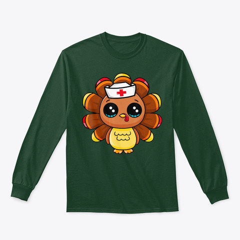 Thanksgiving Nurse Turkey Cute Gift Forest Green T-Shirt Front