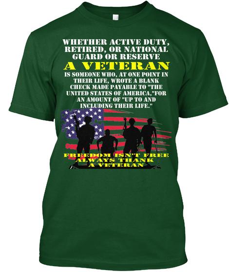 Veteran Blank Check T Shirt Deep Forest T-Shirt Front