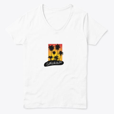Galveston Texas White  T-Shirt Front