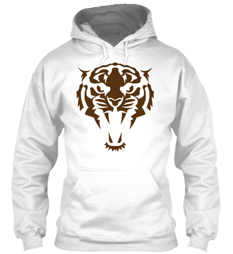 Tribal Animals Tattoo Tiger 407 White T-Shirt Front