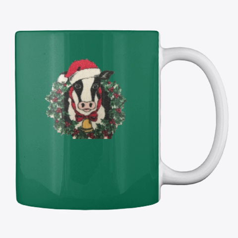 Holiday Cow Blanket And Mug Forest Green T-Shirt Back