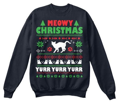 Meowy Christmas Yurr Yurr Yurr French Navy T-Shirt Front