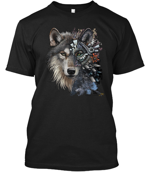 Custom Wolf T Shirts,Hoodies,Mugs Black T-Shirt Front