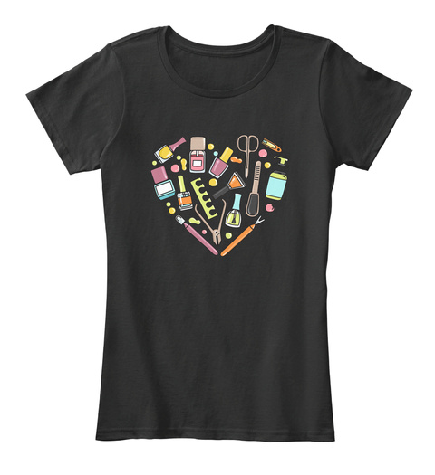 Pattern Of Manicure And Pedicure Doodle Black T-Shirt Front