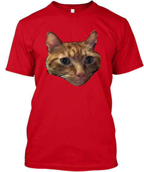 Orange Cat Face Tee! Red T-Shirt Front