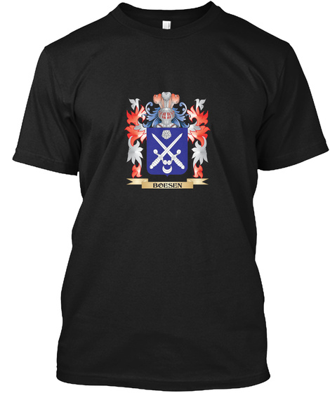 Boesen Coat Of Arms   Family Crest Black T-Shirt Front
