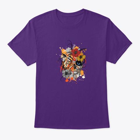 Half Tiger Half Skull Purple T-Shirt Front