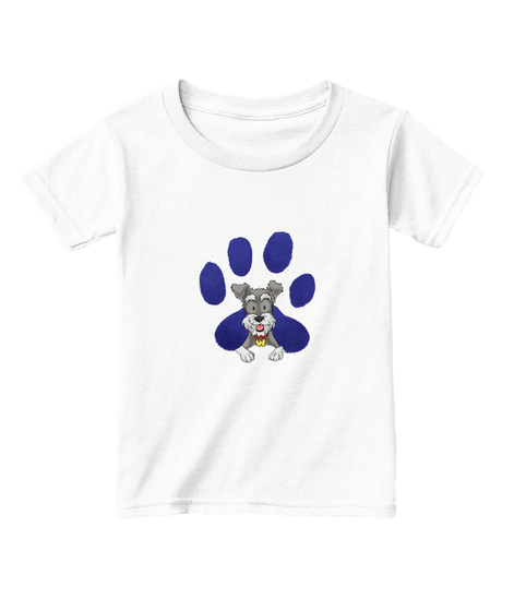 Iconic Woofy Paw Print Toddlers T Shirt  White  T-Shirt Front