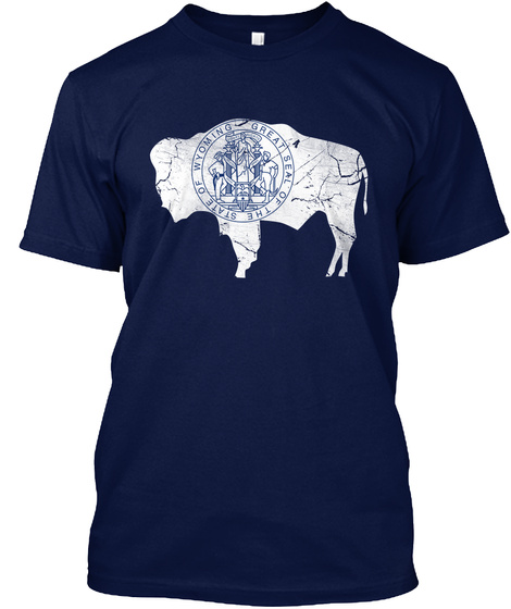 Great Seal Of State Of Wyoming Navy T-Shirt Front